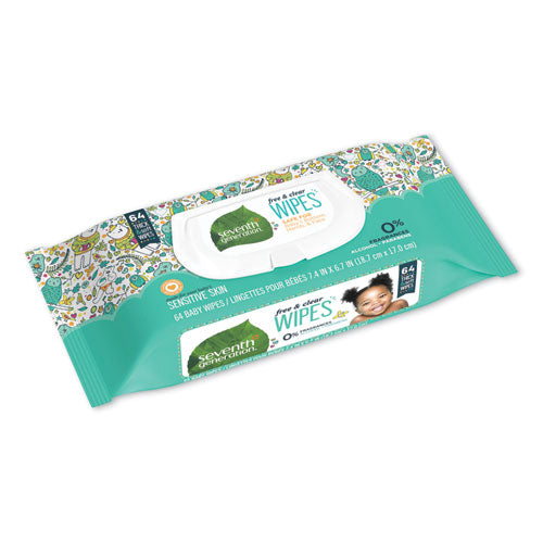 Free & Clear Baby Wipes, Unscented, White, 64-pk, 12 Pk-ct