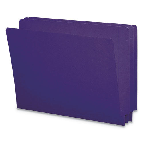 Reinforced End Tab Colored Folders, Straight Tab, Letter Size, Purple, 100-box
