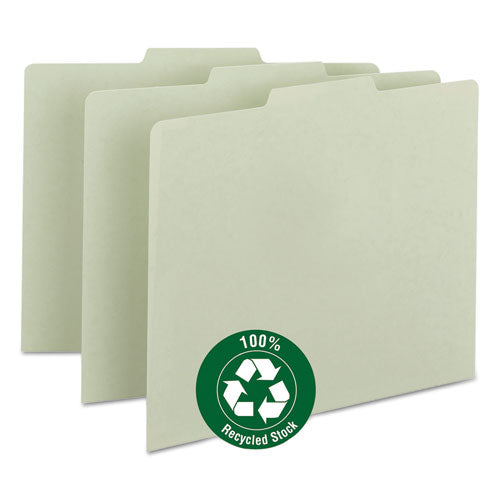 Recycled Blank Top Tab File Guides, 1-3-cut Top Tab, Blank, 8.5 X 11, Green, 100-box