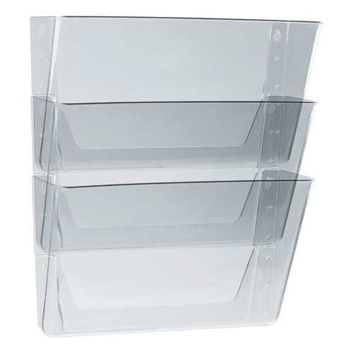 Wall File, Letter, 13 X 14, Three Pocket, Clear