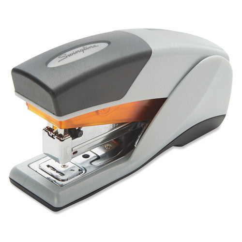 Optima 25 Reduced Effort Compact Stapler, 25-sheet Capacity, Gray-orange