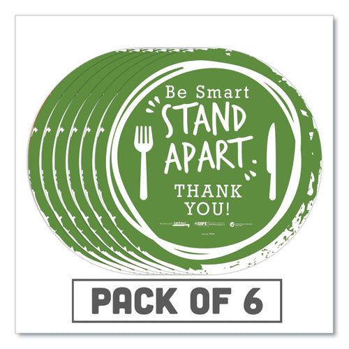 "Besafe Messaging Floor Decals, Be Smart Stand Apart; Knife-fork; Thank You, 12"" Dia., Green-white, 6-carton"