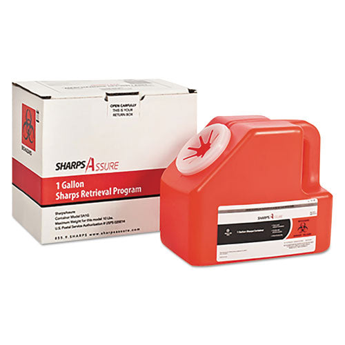 Sharps Retrieval Program Containers, 1 Gal, Cardboard-plastic, Red
