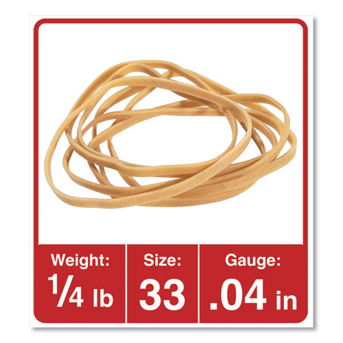 "Rubber Bands, Size 33, 0.04"" Gauge, Beige, 4 Oz Box, 160-pack"