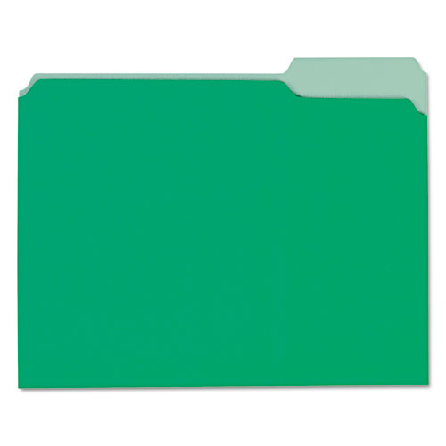 Interior File Folders, 1-3-cut Tabs, Letter Size, Green, 100-box