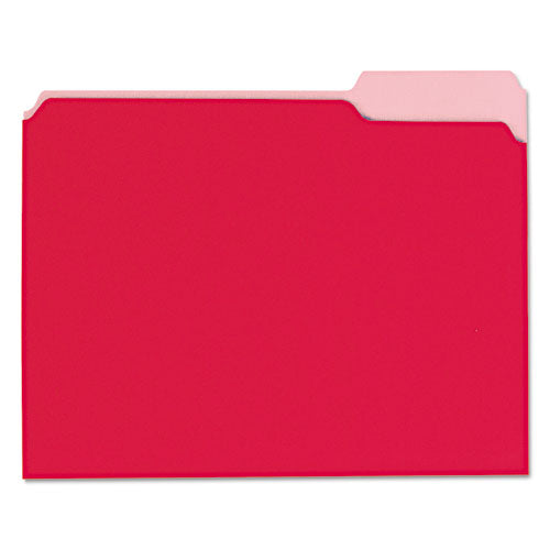 Interior File Folders, 1-3-cut Tabs, Letter Size, Red, 100-box