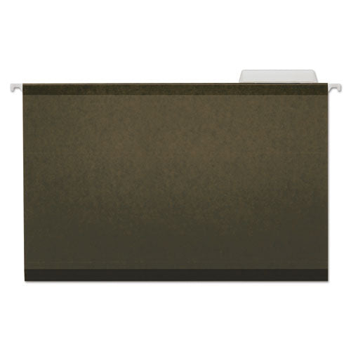 Deluxe Reinforced Recycled Hanging File Folders, Legal Size, 1-3-cut Tab, Standard Green, 25-box