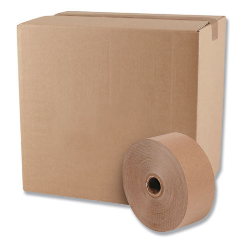 "Gummed Kraft Sealing Tape, 3"" Core, 3"" X 600 Ft, Brown, 10-carton"