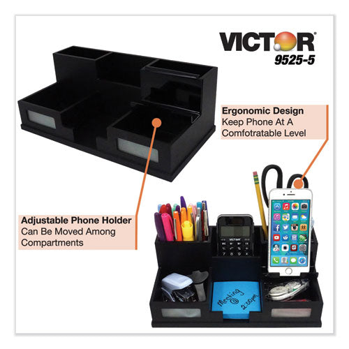 Midnight Black Desk Organizer With Smartphone Holder, 10 1-2 X 5 1-2 X 4, Wood