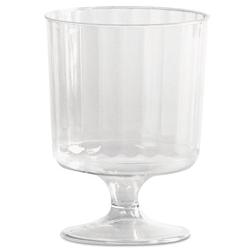 Classic Crystal Plastic Wine Glasses On Pedestals, 5 Oz., Clear, Fluted, 10-pack