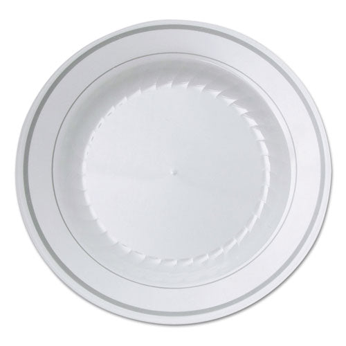 Masterpiece Plastic Plates, 10.25 In, White W-silver Accents, Round, 120-carton