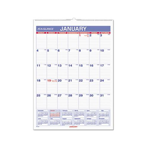 Monthly Wall Calendar With Ruled Daily Blocks, 8 X 11, White, 2021