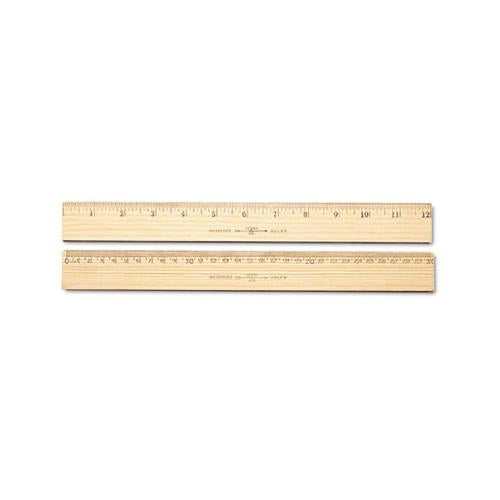 "Wood Ruler, Metric And 1-16"" Scale With Single Metal Edge, 30 Cm"