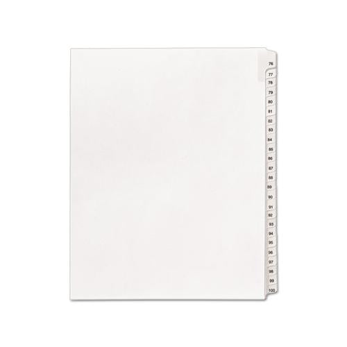 Preprinted Legal Exhibit Side Tab Index Dividers, Allstate Style, 25-tab, 76 To 100, 11 X 8.5, White, 1 Set, (1704)