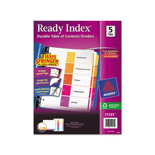 Customizable Toc Ready Index Multicolor Dividers, 5-tab, Letter