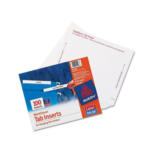 "Tabs Inserts For Hanging File Folders, 1-3-cut Tabs, White, 3.5"" Wide, 100-pack"