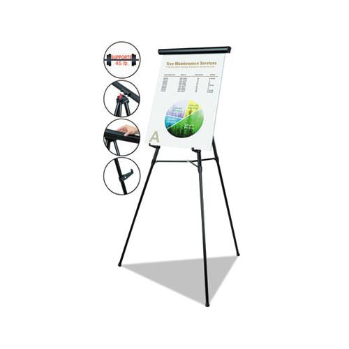 "Telescoping Tripod Display Easel, Adjusts 38"" To 69"" High, Metal, Black"
