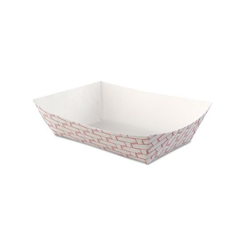 Paper Food Baskets, 2.5lb Capacity, Red-white, 500-carton
