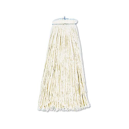 Cut-end Lie-flat Wet Mop Head, Cotton, 16oz, White