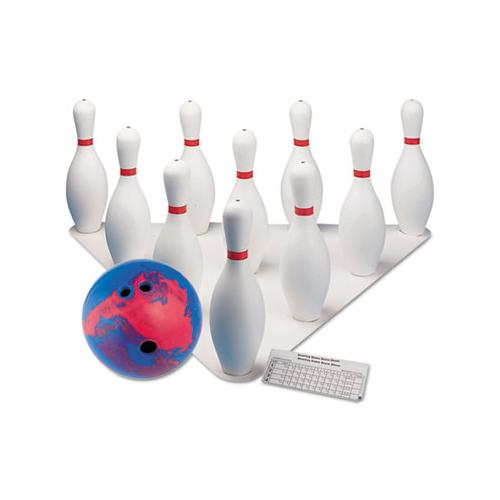 Bowling Set, Plastic-rubber, White, 1 Ball-10 Pins-set