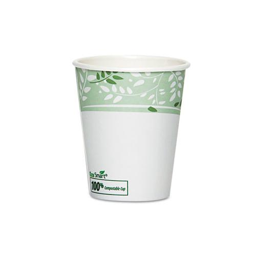 Pla Hot Cups, Paper W-pla Lining, Viridian, 10 Oz Squat, 50-pack