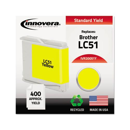 Remanufactured Yellow Ink, Replacement For Brother Lc51y, 400 Page-yield