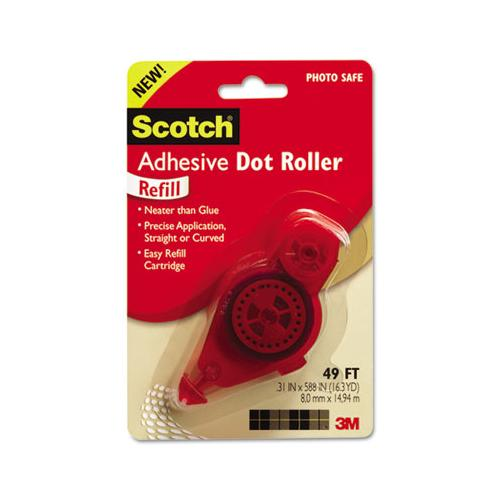"Adhesive Dot Roller Refill, 0.3"" X 49 Ft, Dries Clear"