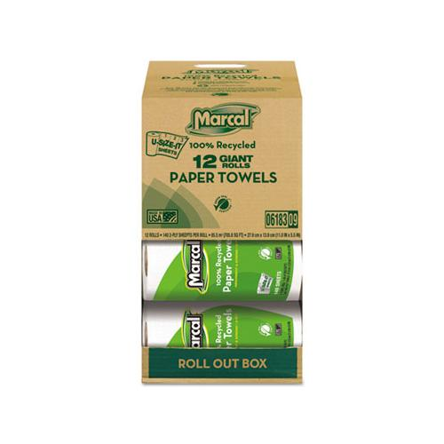 100% Recycled Roll Towels, 2-ply, 5 1-2 X 11, 140 Sheets, 12 Rolls-carton