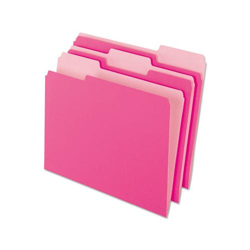 Interior File Folders, 1-3-cut Tabs, Letter Size, Pink, 100-box
