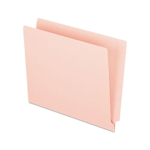 Colored End Tab Folders With Reinforced 2-ply Straight Cut Tabs, Letter Size, Pink, 100-box