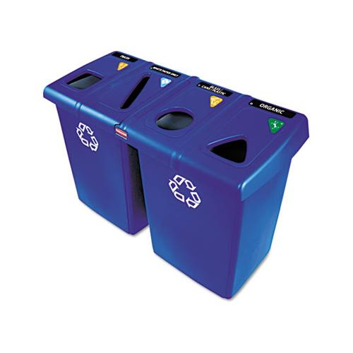 Glutton Recycling Station, Four-stream, 92 Gal, Blue