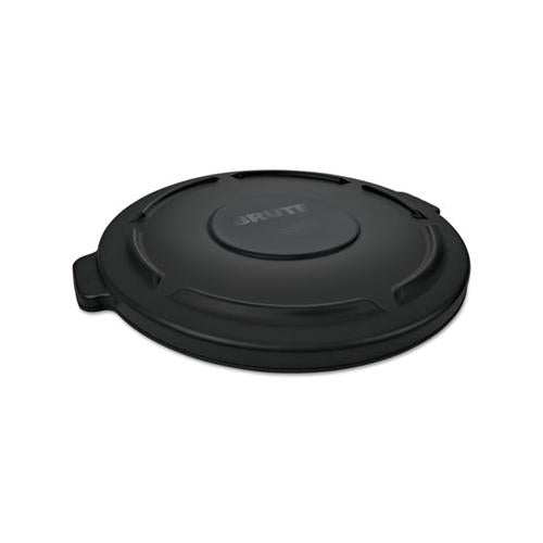 "Rnd Flat Top Lid For 10 Gal Round Brute Containers, 16"" Diameter, Black"