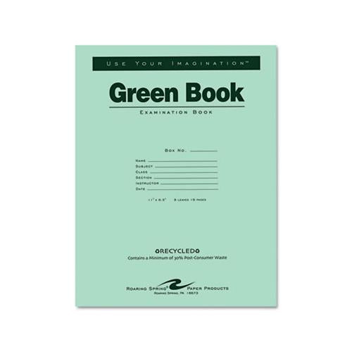 Green Books Exam Book, Wide-legal Rule, 11 X 8.5, White, 8 Sheets