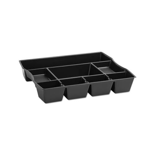 Nine-compartment Deep Drawer Organizer, Plastic, 14 7-8 X 11 7-8 X 2 1-2, Black