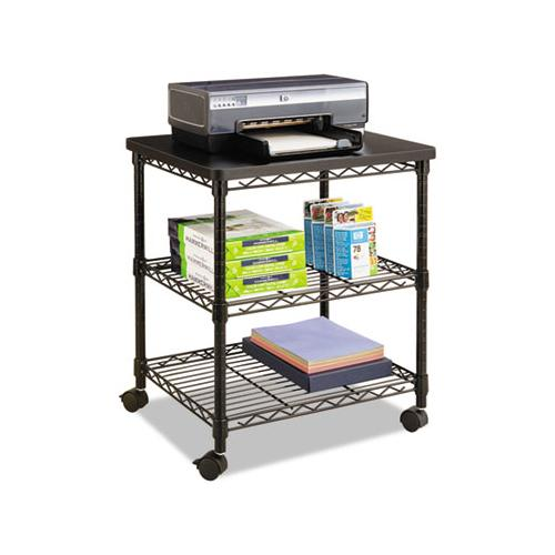 Desk Side Wire Machine Stand, Three-shelf, 24w X 20d X 27h, Black