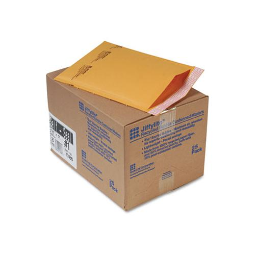 Jiffylite Self-seal Bubble Mailer, #1, Barrier Bubble Lining, Self-adhesive Closure, 7.25 X 12, Golden Brown Kraft, 25-carton