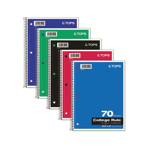 Coil-lock Wirebound Notebooks, 1 Subject, Medium-college Rule, Assorted Color Covers, 10.5 X 8, 70 Sheets