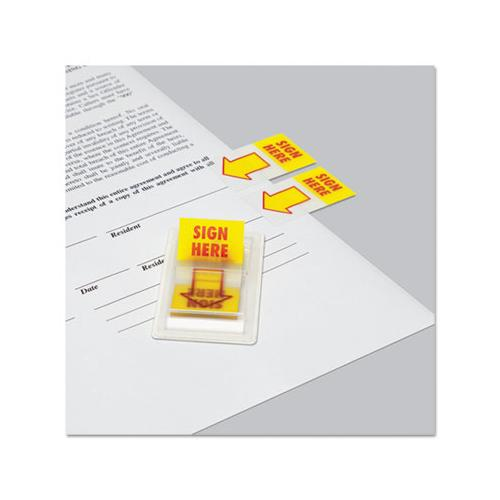 "Arrow Page Flags, ""sign Here"", Yellow-red, 2 Dispensers Of 50 Flags-pack"
