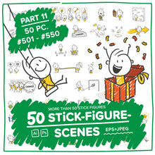Load image into Gallery viewer, Part 11) 50 Yellow Stick-Figures Bundle #501-#550