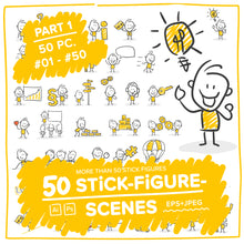 Load image into Gallery viewer, Part 1) 50 Yellow Stick-Figures Bundle #01-#50