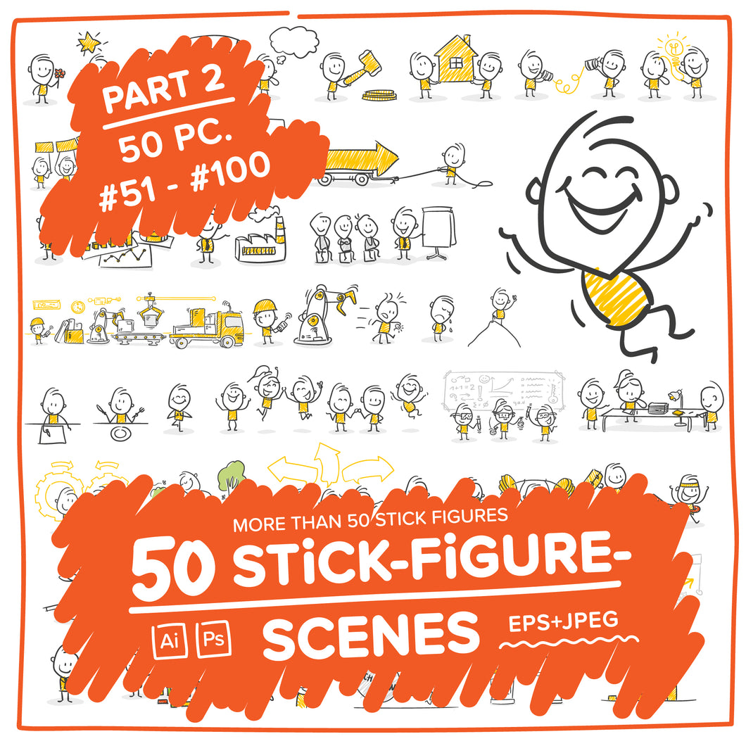 Part 2) 50 Yellow Stick-Figures Bundle #51-#100