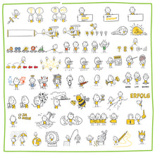 Load image into Gallery viewer, Part 3) 50 Yellow Stick-Figures Bundle #101-#150