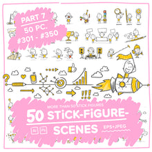 Load image into Gallery viewer, Part 7) 50 Yellow Stick-Figures Bundle #301-#350