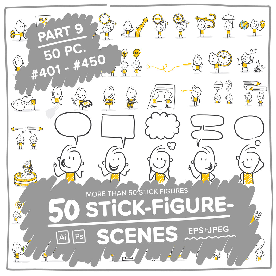 Part 9) 50 Yellow Stick-Figures Bundle #401-#450