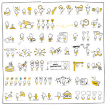 Load image into Gallery viewer, Part 9) 50 Yellow Stick-Figures Bundle #401-#450