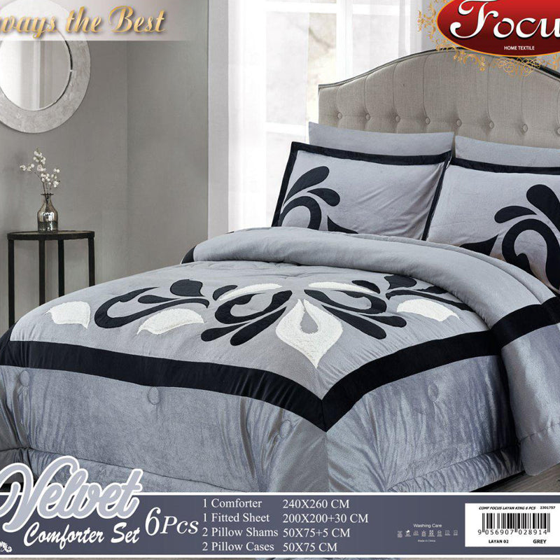 Velvet Embroidered Comforter Set Of 6 pcs