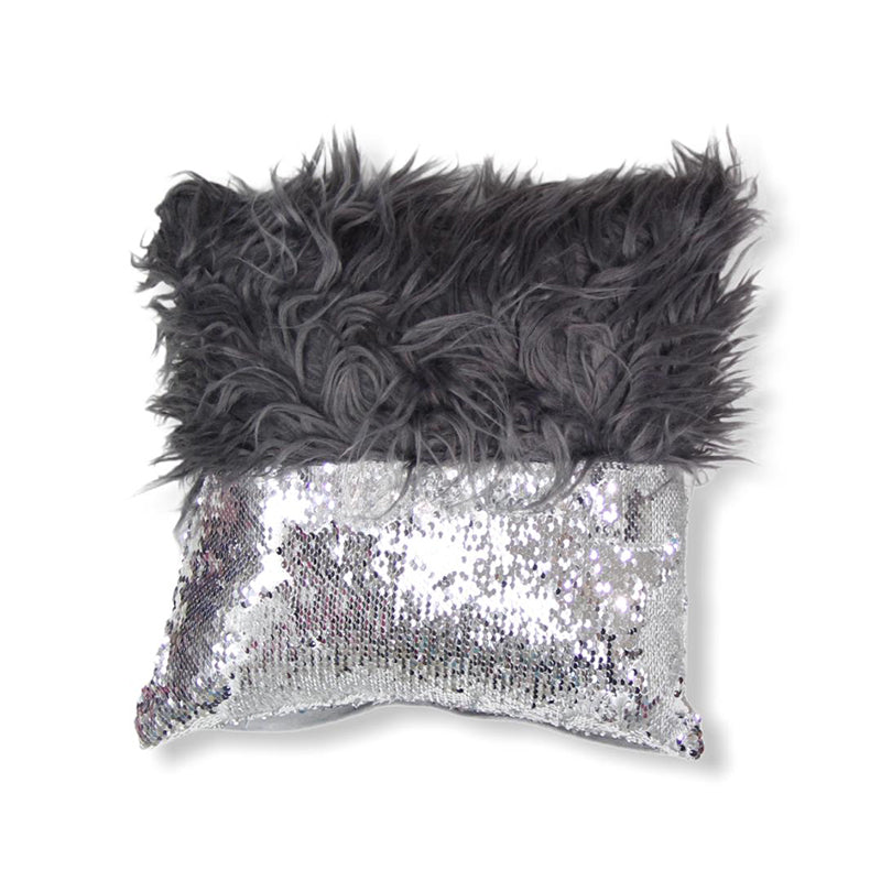 Cushion Covers Decorated With Sequins & Fur