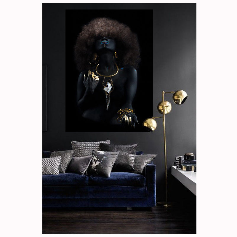 African Woman Black and Gold Canvas Painting