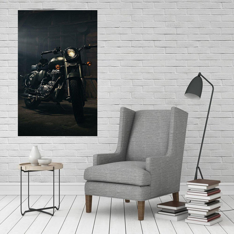 Royal Enfield Bullet Bike Canvas Painting