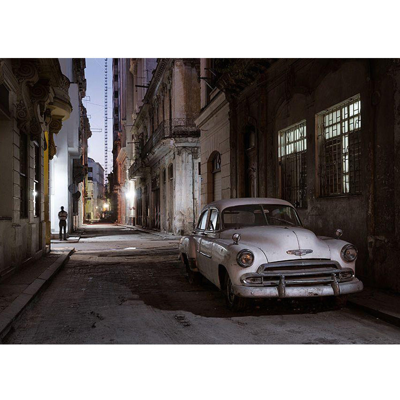 White Car in Havana, Cuba Canvas Painting